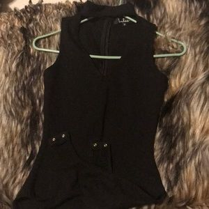 Black v neck bodysuit